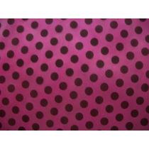Tnt Poá - Estampado Rosa Pink C/ Bolinhas Pretas - 10 Metros