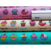 Kit Tecido 100% Algodão Cupcakes 3 Retalhos De 50 Cm X 1,5 M
