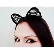 Orelhas De Gato Em Renda Para Fantasia De Mulher Gato Gótica