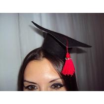 Chapéu De Formatura Capelo Com Tassel Vermelho E Strass