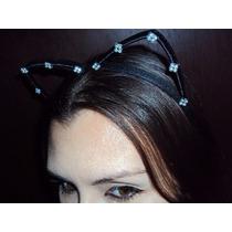 Fantasia Tiara Mulher Gato Orelhas Gatinha Com Strass Prata
