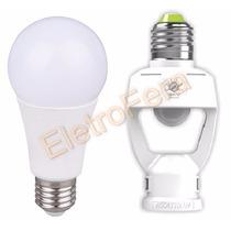 Sensor De Presença P/ Iluminação E27+ Lampada Led 12w Bivolt