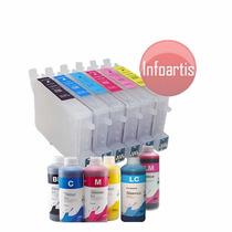 Kit 6 Cartucho Recarregável R200 R220 R300 R320 R340 + Tinta