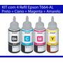 Kit 4 Refil De Tinta Epson T664 Preto/ciano/magenta/amarelo