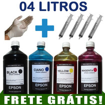 Kit De Tintas 4 Litros Para Impressoras Epson + Reset