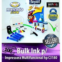 Bulk Ink Para Impressora Hp C3180 + 400ml De Tinta + Brinde!