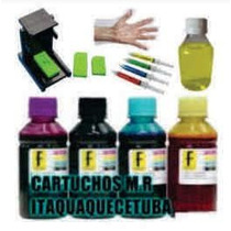900ml Kit Recarga Preto E Color Cartucho Hp 61 122 60 662 74