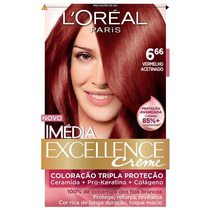 Coloração Loréal Imédia Excellence 6.66 Vermelho Acetinado