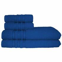 Jogo De Banho 4 Pcs Monic 100% Algodão Azul Santa Mônica