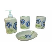 Jogo De Banheiro 4 Pçs Ceramica Porta Escova Etc