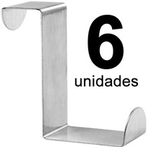 Kit 6 Ganchos Aço De Encaixe Na Porta P/ Toalhas (sem Furos)