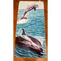 Toalha De Piscina Clube Banho Estampada Azul Golfinho 76x152