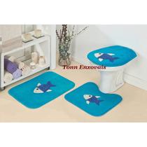 Jogo De Tapete Para Banheiro Peixe Peixinho 3 Pçs Em Pelúcia