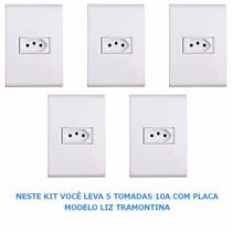 Tomada 10a C/ Placa Branca Modelo Liz Tramontina - Kit C/ 5
