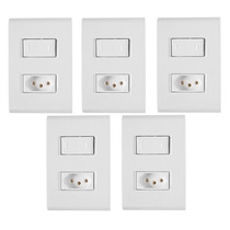 5 Conjunto Tramontina Liz 2 Interruptores Simples Ou Tomada