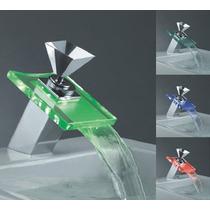 Torneira Para Banheiro Com Cascata De Vidro + Led Promoção