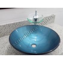 Conjunto Banheiro: Cuba Vidro, Torneira E Valvula Click