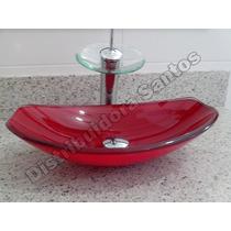 Cuba De Vidro Oval Vermelha Para Banheiro / Lavatório