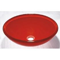 Cuba Banheiro Vidro Colorida Redonda Vermelha 42x42x14