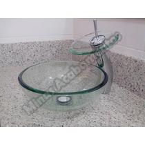 Conjunto Vidro: Cuba 30x30cm, Torneira Cascata, Valvula Clic