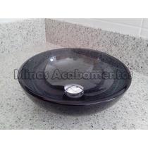 Cuba De Vidro Fumê Para Banheiro - 30x30x12 Com Valvula Clic