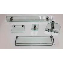 Kit Acessorios Vidro 8 Mm Banheiro Lavabo 5 Pç Cuba