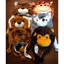 Lote 3 Toucas De Bichinhos Kit Infantil De Inverno Safari