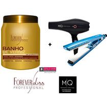 Banho De Verniz+secador Titanium Turbo 127v Mq Hair+prancha