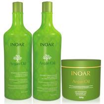 Kit Shampoo E Condicionado 1 L+ Máscara Argan Oil Inoar 500g