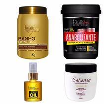 Banho De Verniz & Anabolizante 1kg + Selante + Oleo Argan
