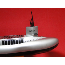 Mini Submarino Prata Preto Motor Eletrico E Leme Operacional