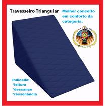 Travesseiro Triangular Sankofort Encosto Leitura + Capa Azul
