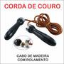Corda De Pular Couro Rolamento Cabo Madeira 6 Peças Academia