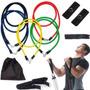 Kit Ginástica 11 Pç Fitness Yoga Exercícios Corda Elástico