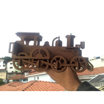 Trem Locomotiva Madeira Mdf 3mm Artesanal Presentes Carro