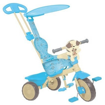 Triciclo Velobaby Azul C/empurrador Bandeirante Fisher Price