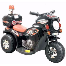 Mini Moto Eletrica Infantil Triciclo Policia Preta