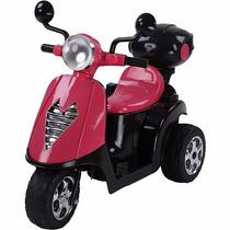 Scooter Moto Eletrica Infantil Rosa E Preta