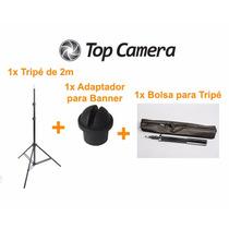 Kit 1 Tripé De Iluminação 2m + 1 Adaptador De Banner + Bolsa