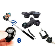 Pau Selfie Bastão Vara Controle Bluetooth Lente Fish Eye Kit