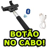Bastão Selfie Monopod Sem Fio Bluetooth Botão No Cabo Iphone