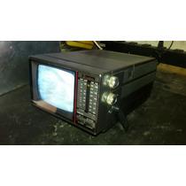 Mini Televisão Am Fm Portátil Preta E Branca Antiga Funciona