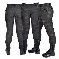 Calça Feminina Ripstop Camuflada Woodland Black Estonada 38