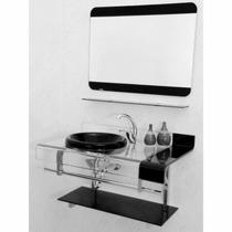 Kit Banheiro Gabinete Vidro Espelho - Estilo Chopin 70 X 53