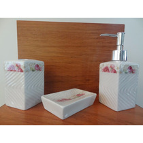 Kit Conjunto Para Banheiro Em Porcelana - 3 Peças
