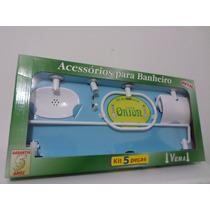 Kit Acessorios Branco Banheiro Inox 5 Peças