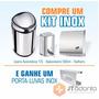 Kit Inox Lixeira Automática 12l Toalheiro Saboneteira 500 Ml