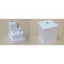 Kit Potes P/ Banheiro Acrílico Branco, Lixeira - Decor Duo