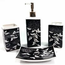Kit De Pia Para Banheiro 4 Peças Cerâmica Decorado
