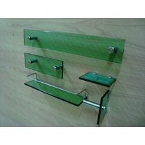 Kit Banheiro 5 Peças Vidro De 10mm Lapidado Verde Pt30r